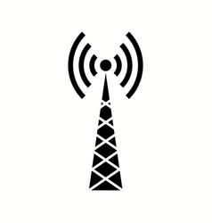 Unique telecom tower glyph icon vector