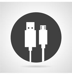USB plug black round icon vector image