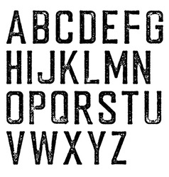 Vintage retro typeface Stamped alphabet scratched vector image