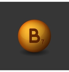 Vitamin B7 Orange Glossy Sphere Icon on Dark vector