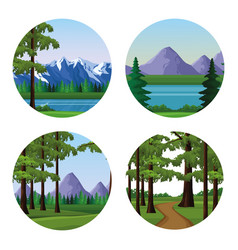 Wanderlust landscapes cartoon vector