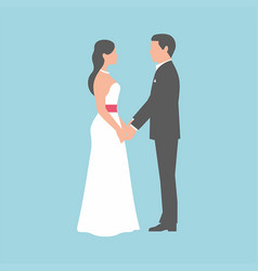Wedding couple on blue background vector
