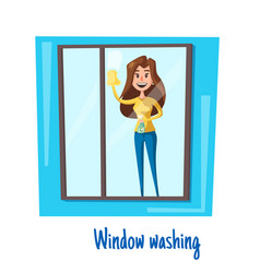 window washing woman house cleaning concept vector image