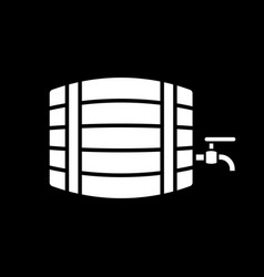 Wine barrel with tap dark mode glyph icon vector