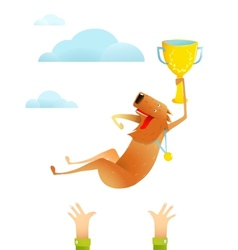 Winning Red Happy Dog Throwing Up on Arms with Cup vector