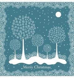Winter trees on Christmas postcard background vector image