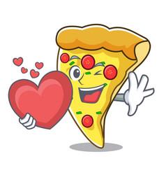 with heart pizza slice mascot cartoon vector image
