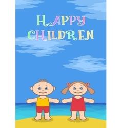 Children on beach vector image
