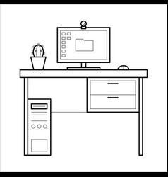 computer desk - thin line style vector image vector image