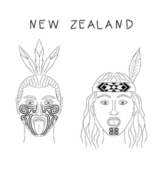 New Zealand Maori tribe a man and a woman vector image vector image