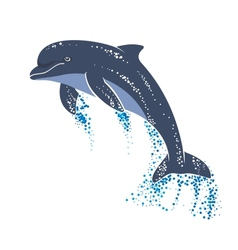 Playing and jumping dolphin vector image