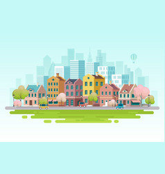 spring cityscape vector image
