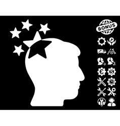 Stars Hit Head Icon with Tools Bonus vector image vector image
