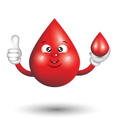 Blood Drop Cartoon Character smiling and giving a vector image vector image