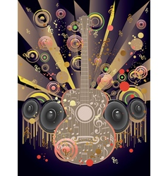 Grunge Guitar and Loudspeakers2 vector image vector image