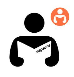 man reading a magazine icon vector image vector image