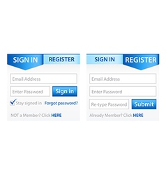 Register Sign in Forms with Blue Gradient Header vector image vector image