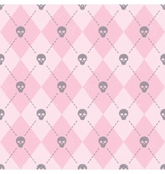 Seamless pink pattern with funny skulls vector image