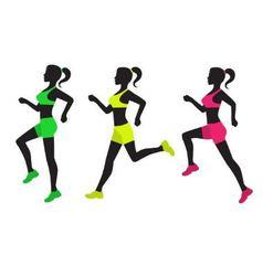 three silhouettes of running women vector image