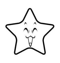 cute kawaii star face emoticon character vector image vector image
