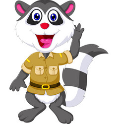 funny raccoon cartoon waving vector image vector image