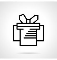 Gift box simple black line icon vector image vector image