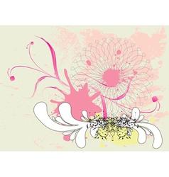 Grunge pink floral ornament vector image vector image