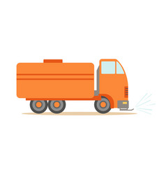 gas carrier orange truck part of roadworks and vector image vector image