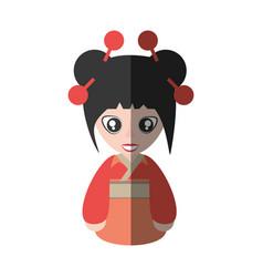 portrait woman asian clothes shadow vector image