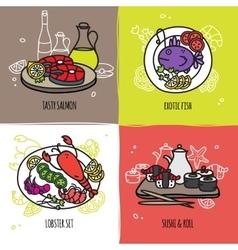 Seafood Design Concept Set vector image