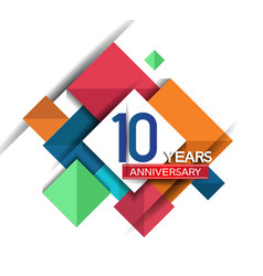 10 years anniversary design colorful square style vector