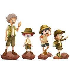 a family explorers vector image
