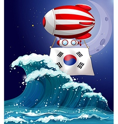 A floating balloon with the South Korean flag vector image