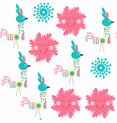 abstract floral seamless birds pattern it is vector image