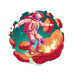 Astronaut riding skateboard in space vector