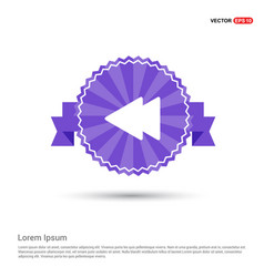 Back arrow icon - purple ribbon banner vector