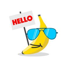 banana face cartoon vector image
