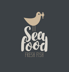 Banner for seafood with a seagull and fish vector