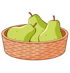 basket pears on white background vector image