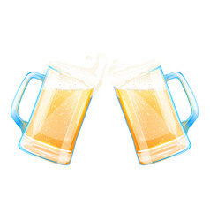 Beer mugs cheers with splashes of foam vector