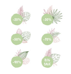 big sale and discount tropical stickers vector image