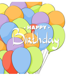 birthday card with ballons vector image