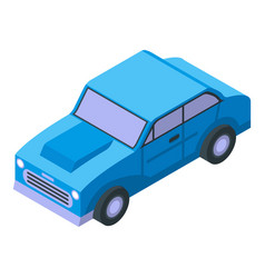 Blue old retro car icon isometric style vector