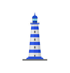Blue striped lighthouse on vector