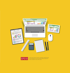 Business item in flat style workplace design vector