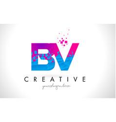 Bv b v letter logo with shattered broken blue vector