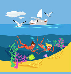 cartoon cute couple swimming in summer sea vector image
