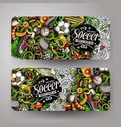 cartoon doodles football horizontal banners vector image