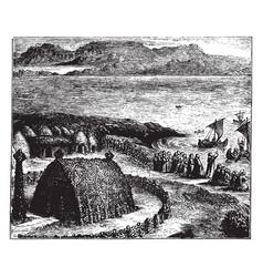 Celtic missionaries starting on a voyage vintage vector