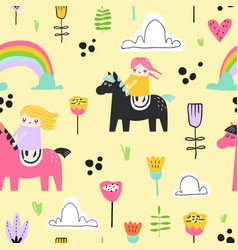 childish seamless pattern with cute girls on pony vector image